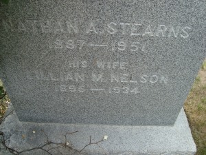 Nathan A Stearns Gravestone
