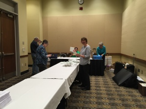 Pam Roberts, Charlene Sokal, Mary Choppa, and Pauline Cusson setting up for NERGC.