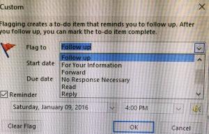 Add Reminder Custom Box drop down menu