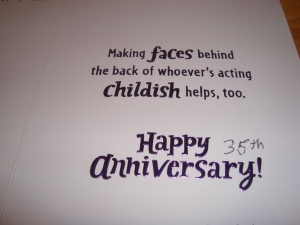 35th Wedding Anniversary Card- inside
