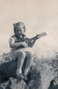 Shirley playing the Ukulele
