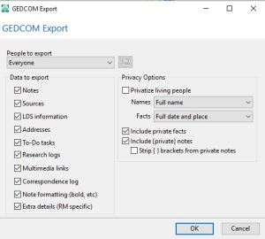 RootsMagic export GEDCOM