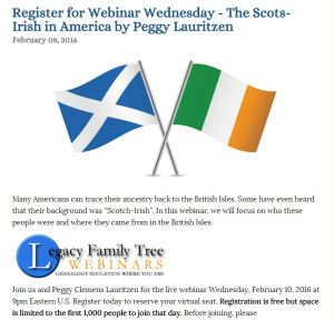 Scots Irish webinar wednesday 10 feb 2016