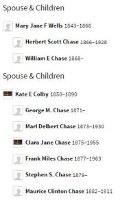 Alonzo Chase children and spouses