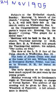 Chase Alonzo death notice Fitzburg Sentinal 24 Nov 1905 Townsend col pg 15