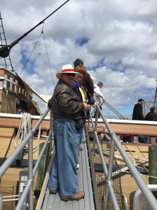 Heather and Vincent boarding the Mayflower