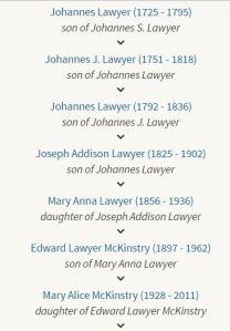 Johannes Lawyer Descendants