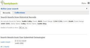 Judith Colby Family Search Results