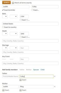 Ancestry Search page